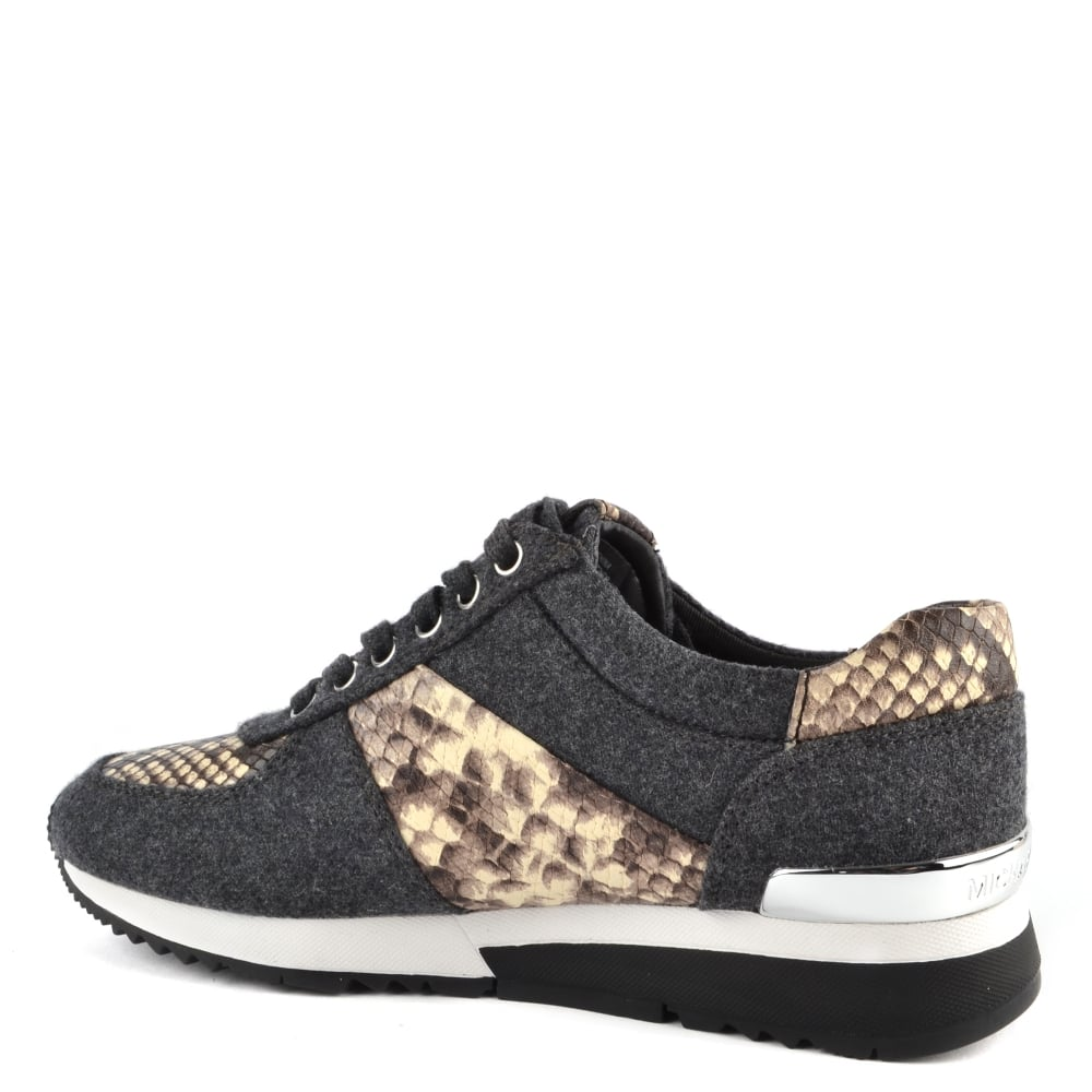 3a3fb845b4d7a MICHAEL MICHAEL KORS Allie Charcoal Wool and Python Print Trainer