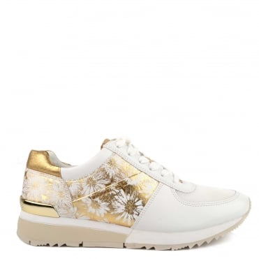 Allie Optic White and Gold Floral Leather