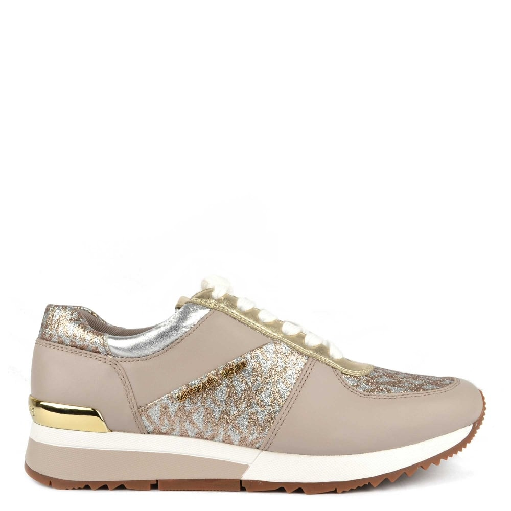 b97ba7cb4d85 MICHAEL by Michael Kors Allie Taupe Leather With Glitter Effect Trainer