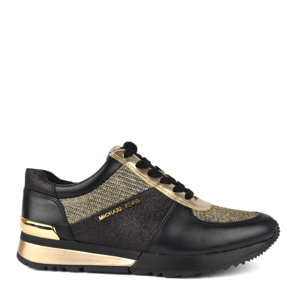 ff989c42b86b MICHAEL by Michael Kors Allie Wrap Black and Gold Trainer