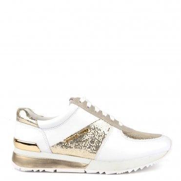 Allie Wrap Optic White and Champagne Trainer