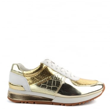 Allie Wrap Pale Gold Embossed Croc and Python Effect Trainer