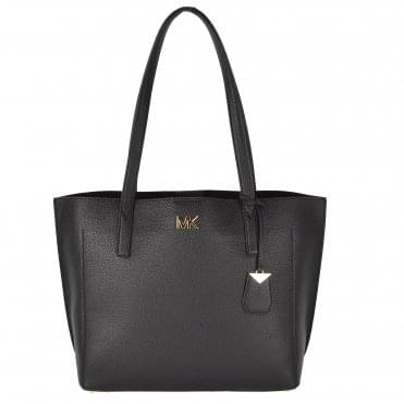 Ana Black Medium Leather Bonded Tote