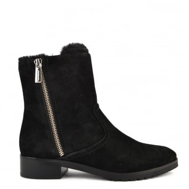 Andi Black Suede Faux Fur Boot