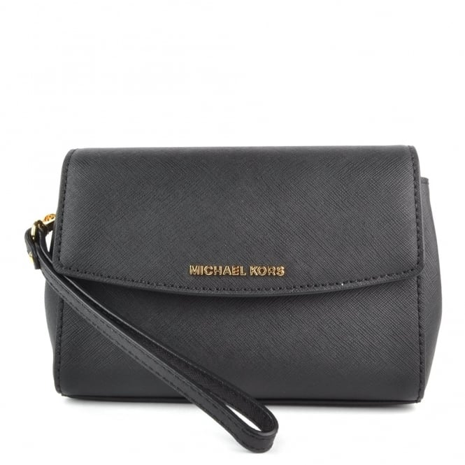 MICHAEL by Michael Kors Ava Black Leather Wristlet