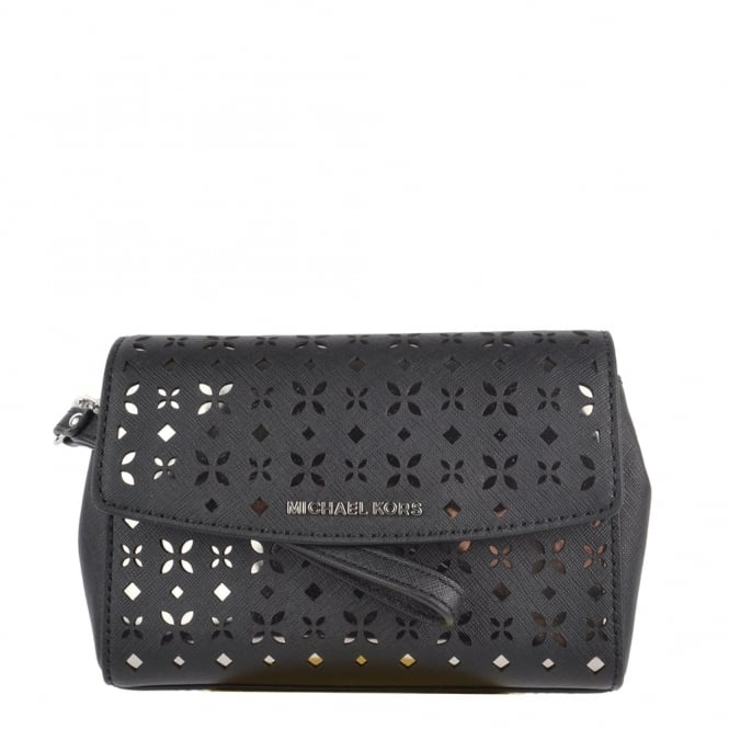 MICHAEL by Michael Kors Ava Black Perforated Wristlet