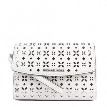 Ava White Perforated Wristlet