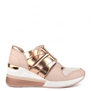 Beckett Soft Pink and Rose Gold Cut Out Trainer