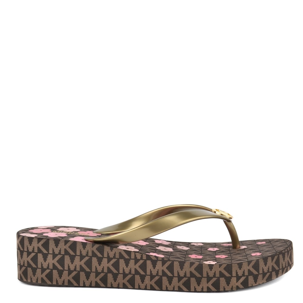 8bb1af576165a MICHAEL by Michael Kors Bedford Brown Pink Flower Print Flip Flop