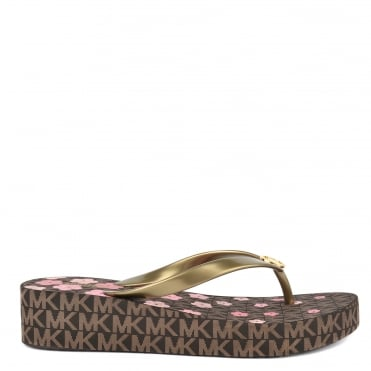 Bedford Brown Pink Flower Print Flip Flop