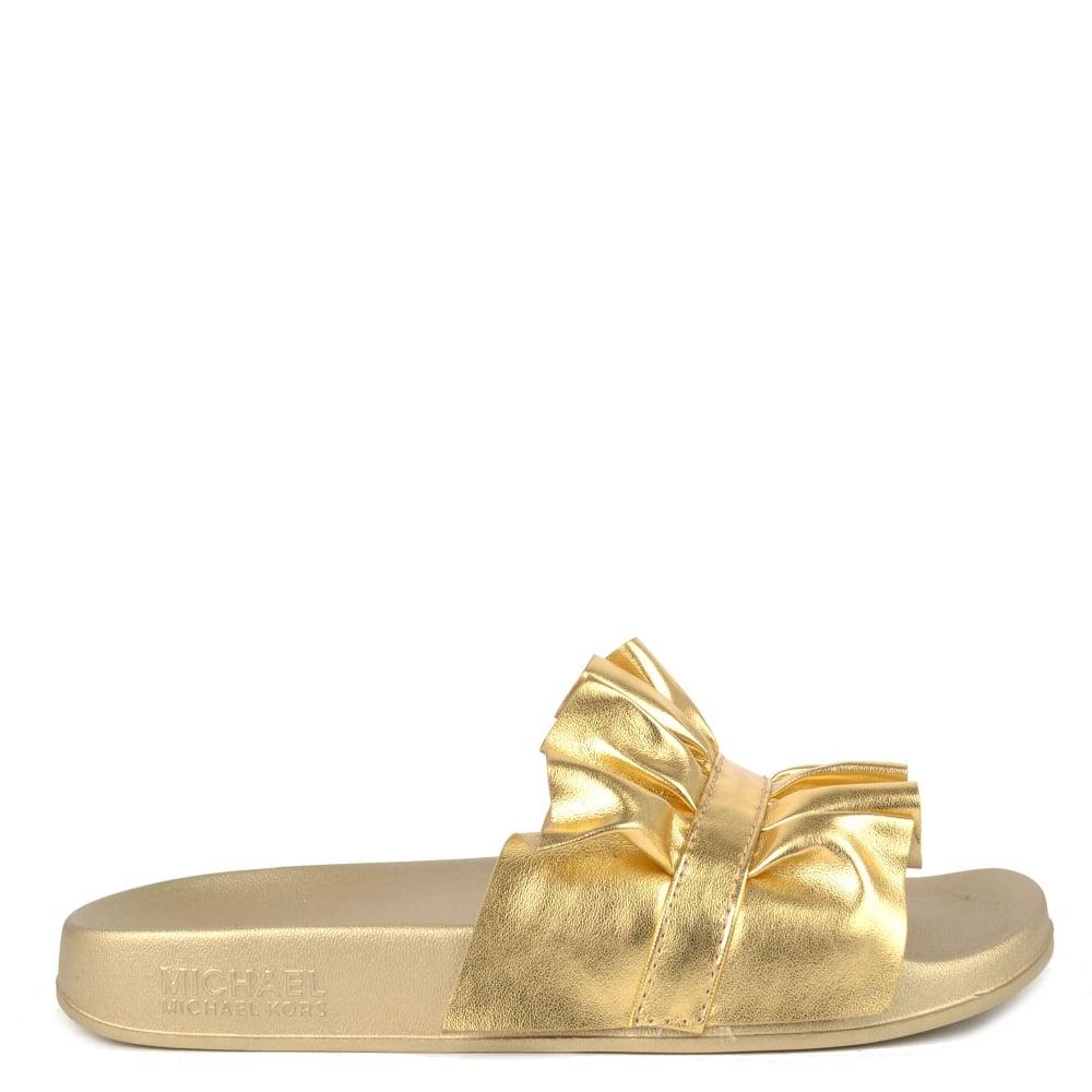 e74400fcc4bb MICHAEL by Michael Kors Bella Metallic Pale Gold Ruffle Slides