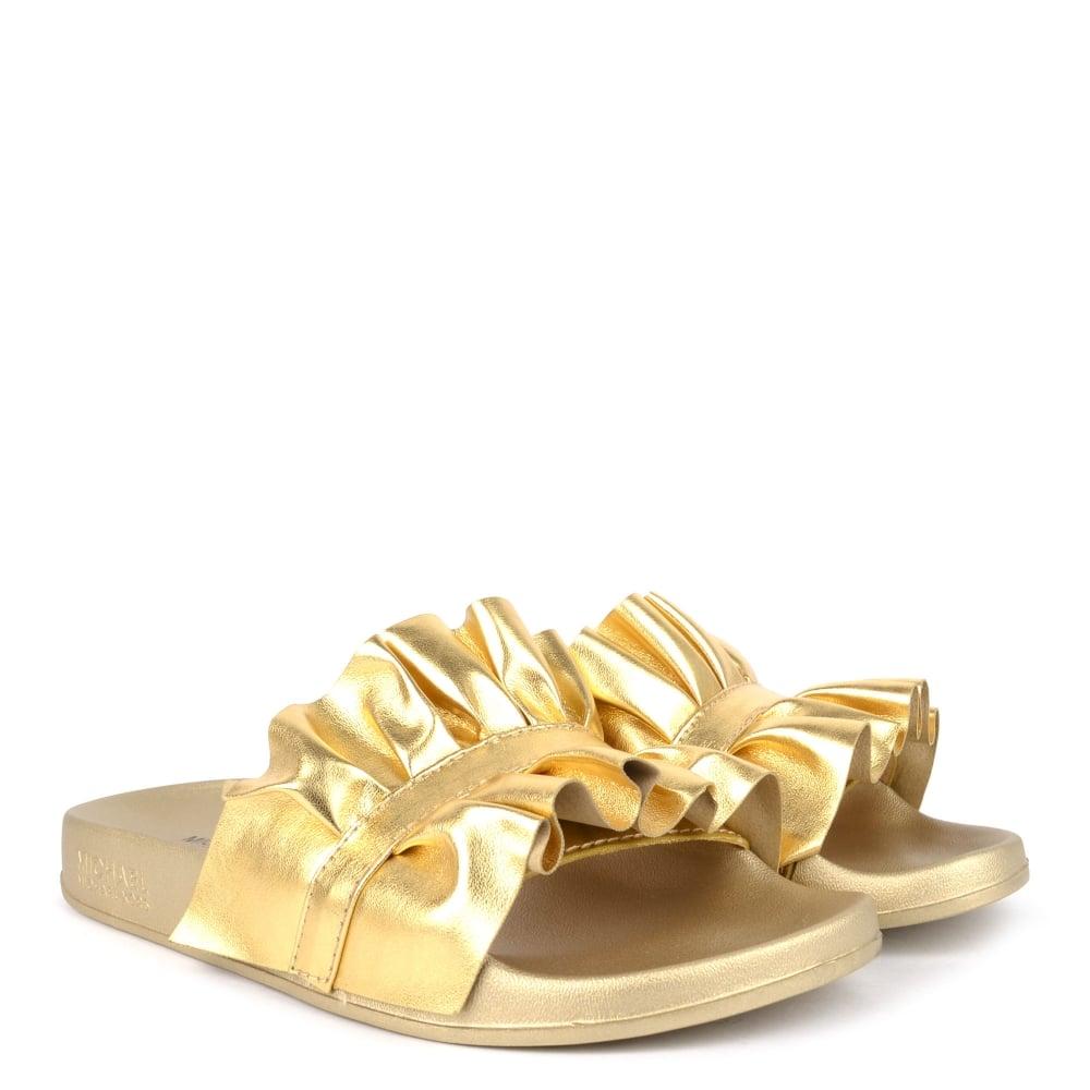 1a7f3c5ac48e MICHAEL Michael Kors Bella Metallic Pale Gold Ruffle Slides