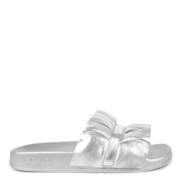 Bella Metallic Silver Ruffle Slider