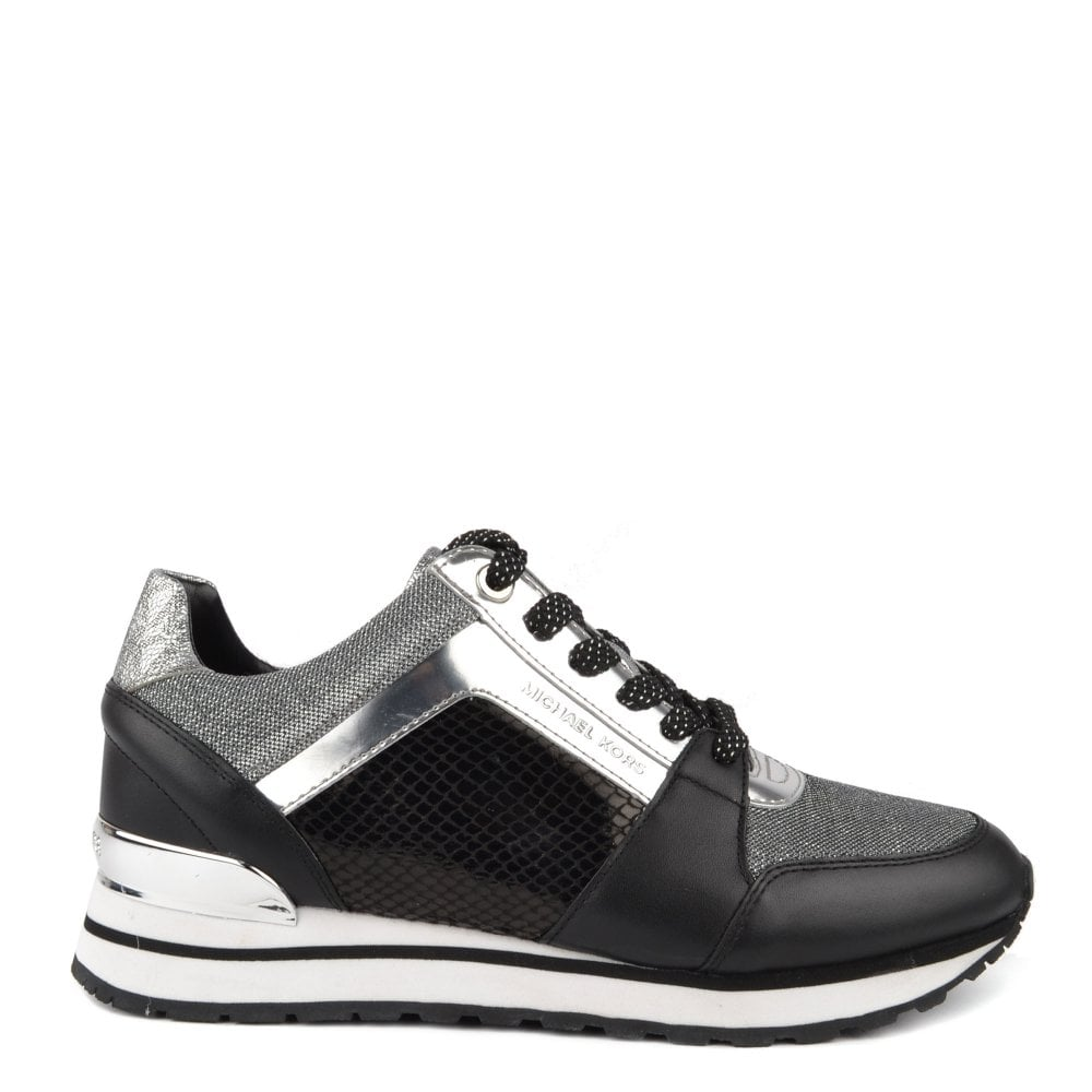e32f79be8560 MICHAEL by Michael Kors Billie Black and Silver Mesh Trainer