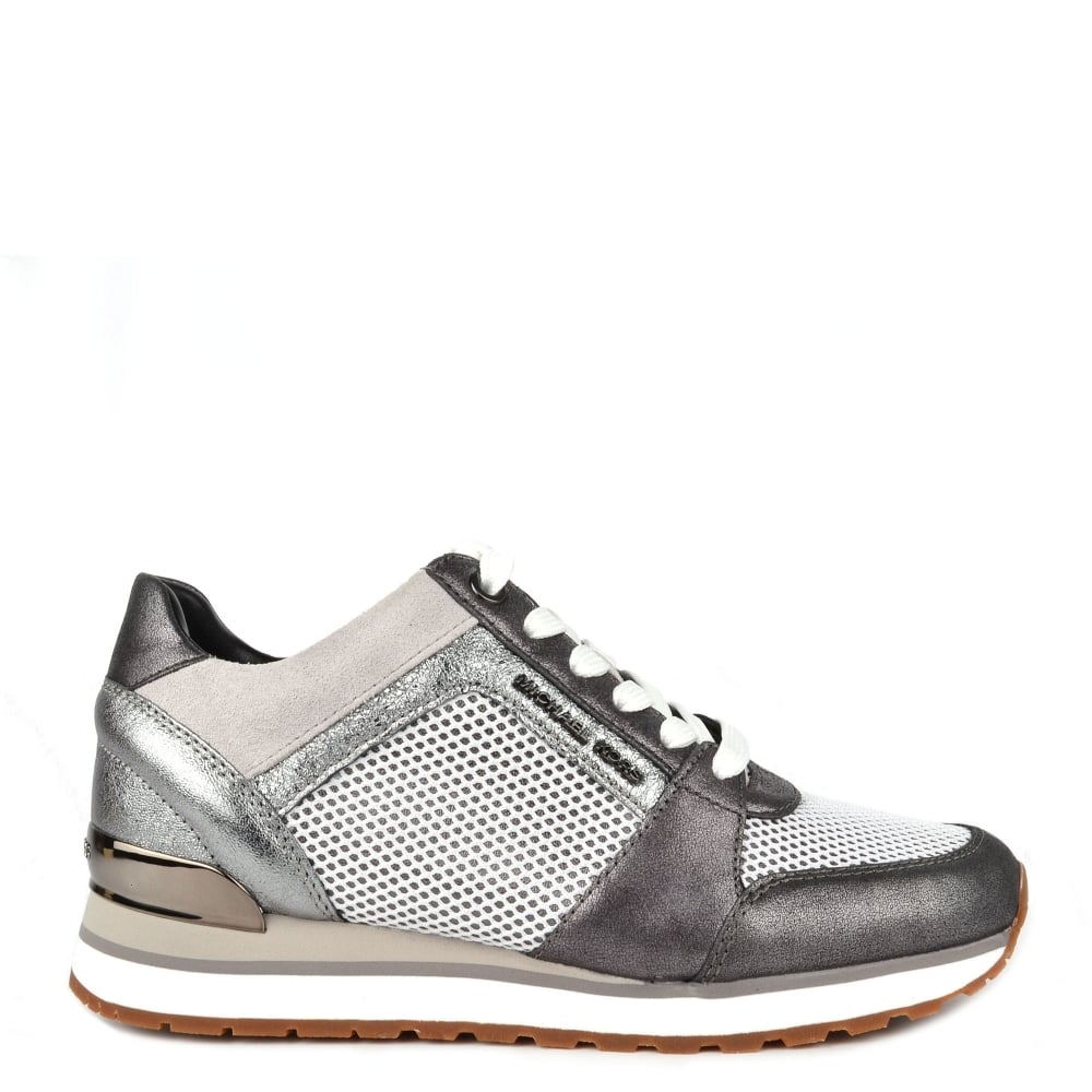 e0bfdfe331a MICHAEL by Michael Kors Billie Gunmetal and Mesh Trainer