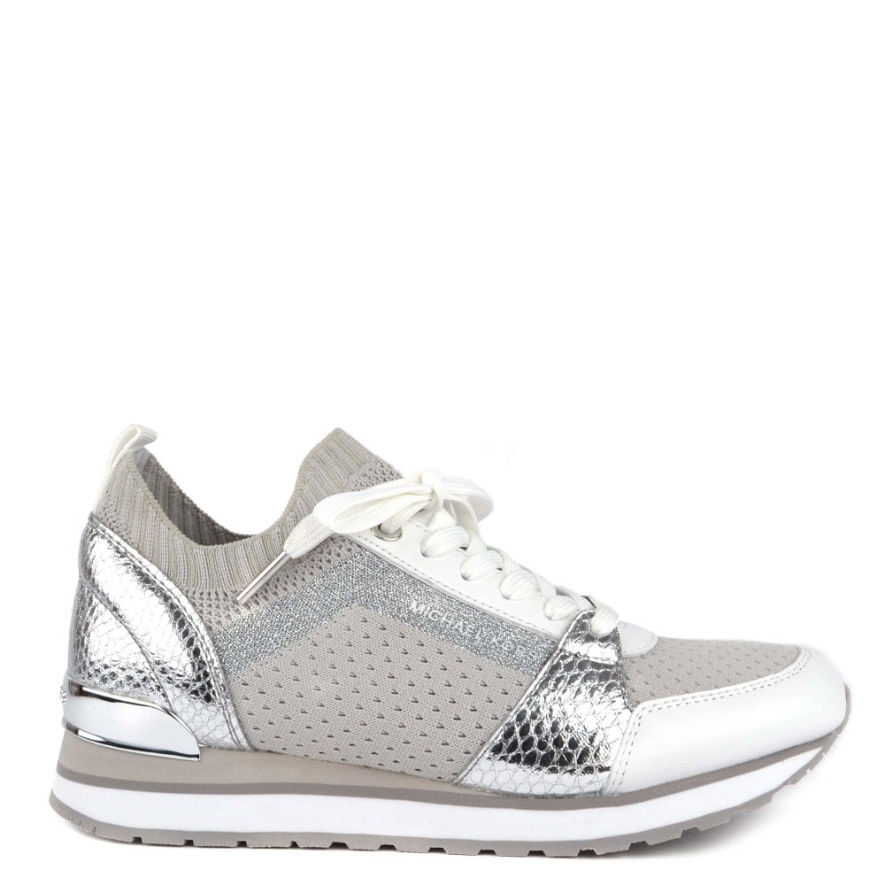 e521020ebf0b MICHAEL by Michael Kors Billie Knit Aluminum and Embossed Python Effect  Trainer