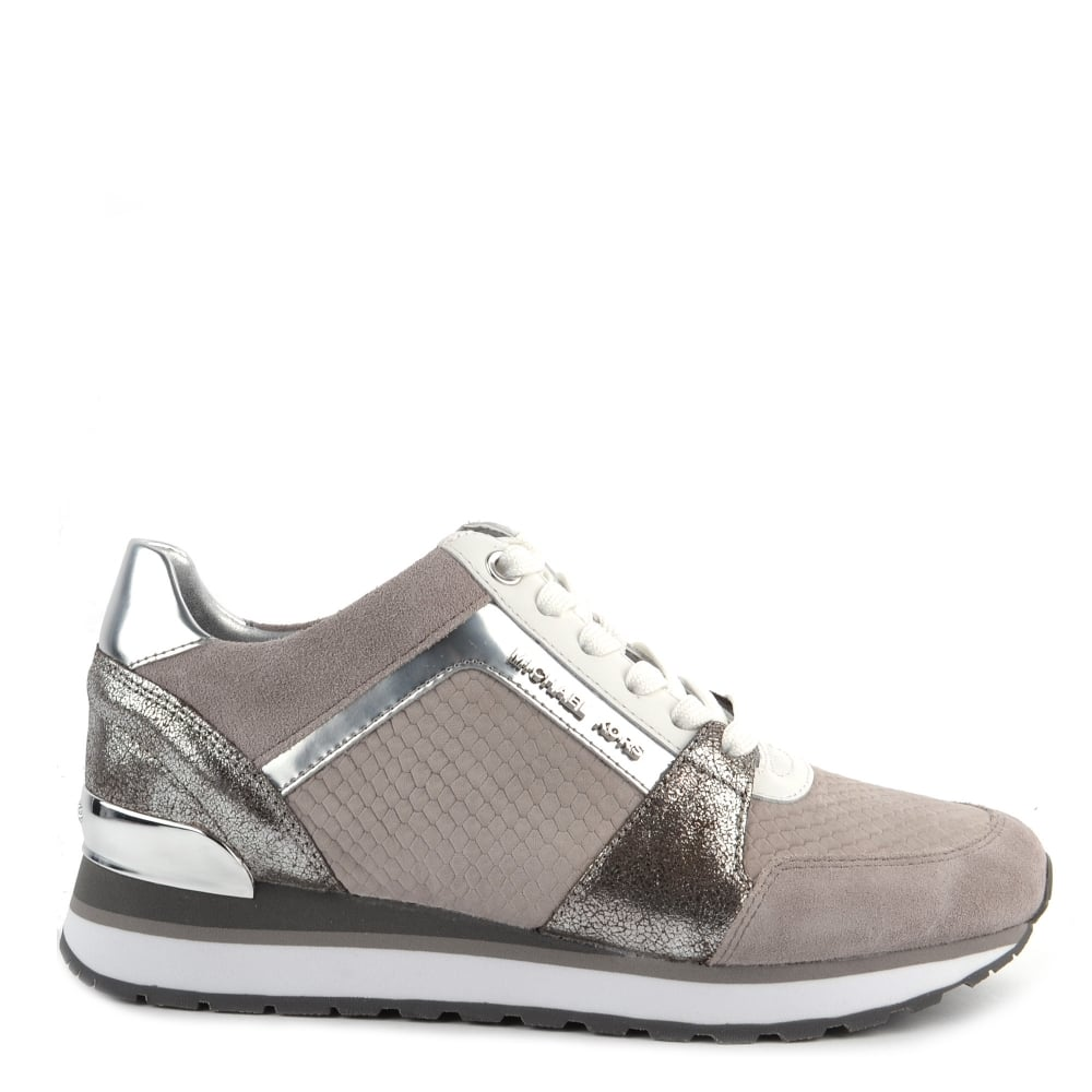 4501249e80f MICHAEL by Michael Kors Billie Pearl Grey Python Effect Suede and Silver  Trainer