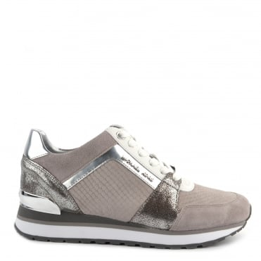 Billie Pearl Grey Python Effect Suede and Silver Trainer
