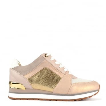 Billie Pink and Gold Leather Trainer