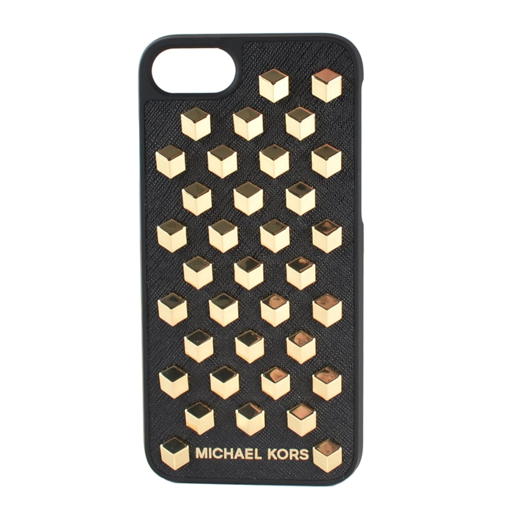 MICHAEL MICHAEL KORS Black Leather Studded iPhone 7 Case