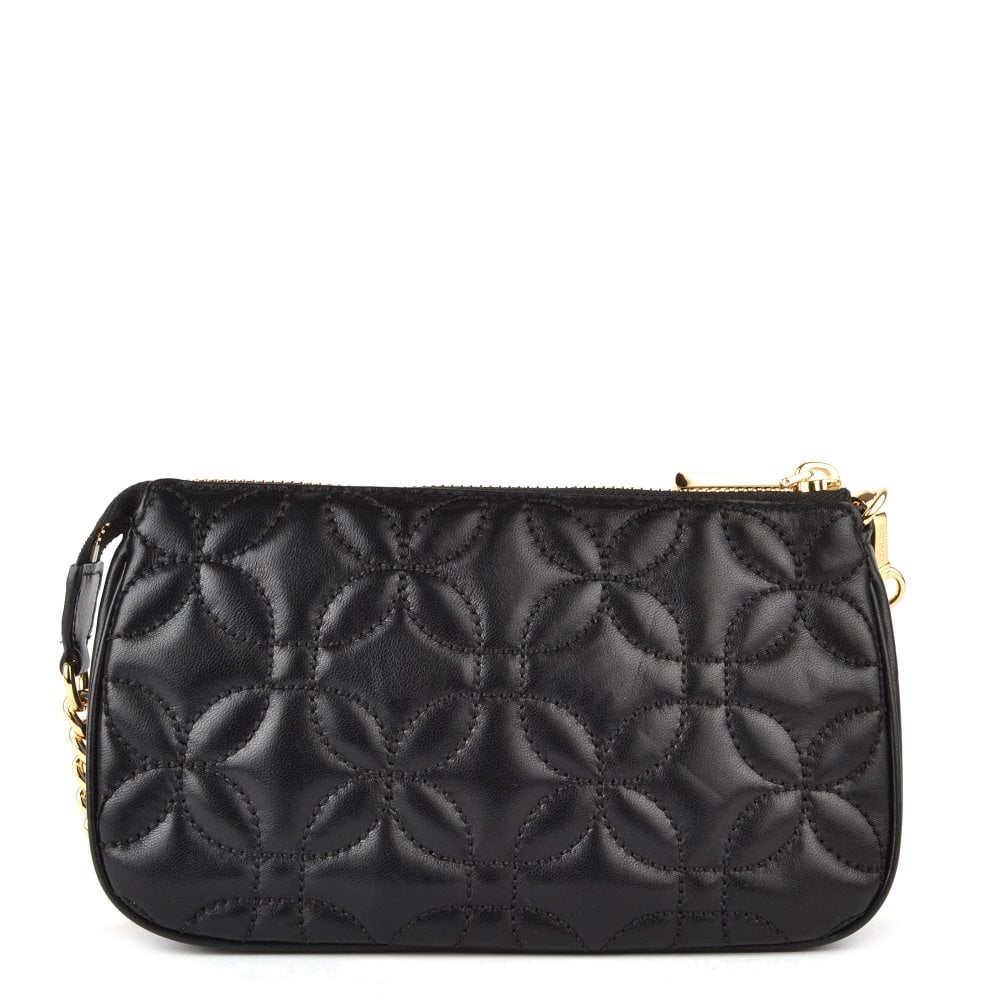 ab63edd7028f MICHAEL MICHAEL KORS Black Medium Floral Quilted Leather Chain Pouch
