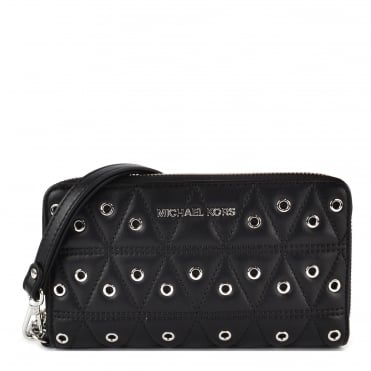 Black Quilted Eyelet Phone Case Wristlet