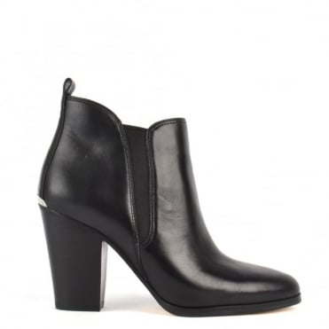 Brandy Black Leather Ankle Boot