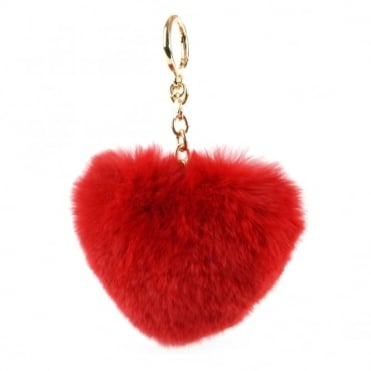 Bright Red Fur Heart Shaped Keyring Charm