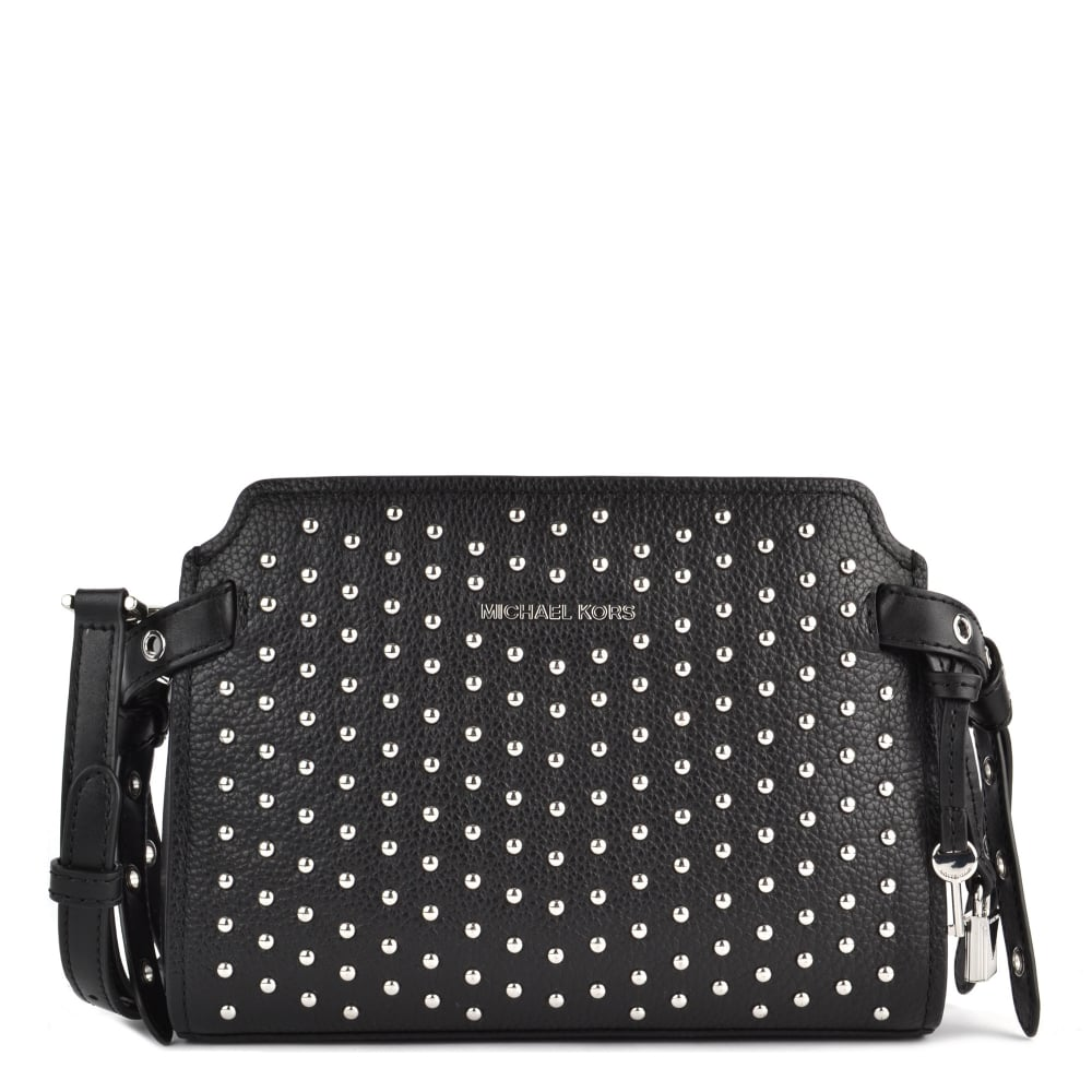 MICHAEL MICHAEL KORS Bristol Black Leather Studded Messenger Bag - Free invoice online michael kors outlet online store