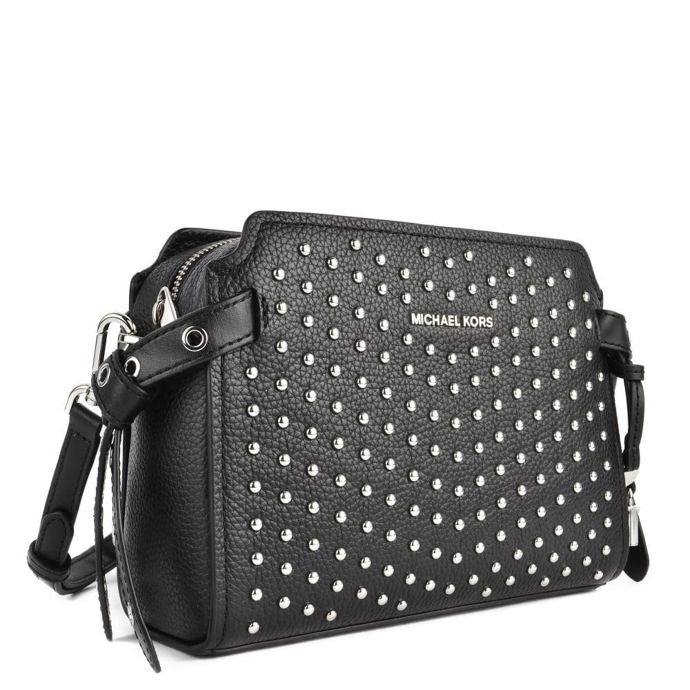 4d318a8c3f2e MICHAEL MICHAEL KORS Bristol Black Leather Studded Messenger Bag