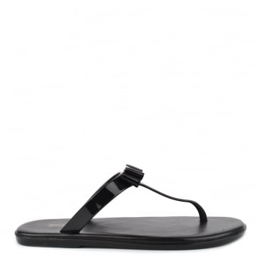 Caroline Black Thong Jelly Sandal