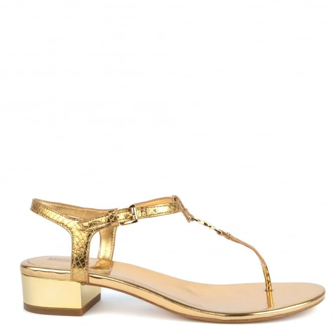 MICHAEL by Michael Kors Cayla Gold Python Effect Heeled Sandal