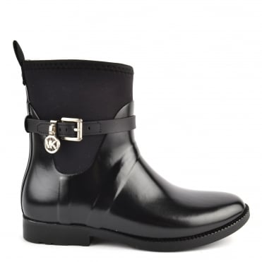 Charm Stretch Black Rubber Rain Bootie