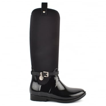Charm Stretch Black Rubber Tall Rain Boot