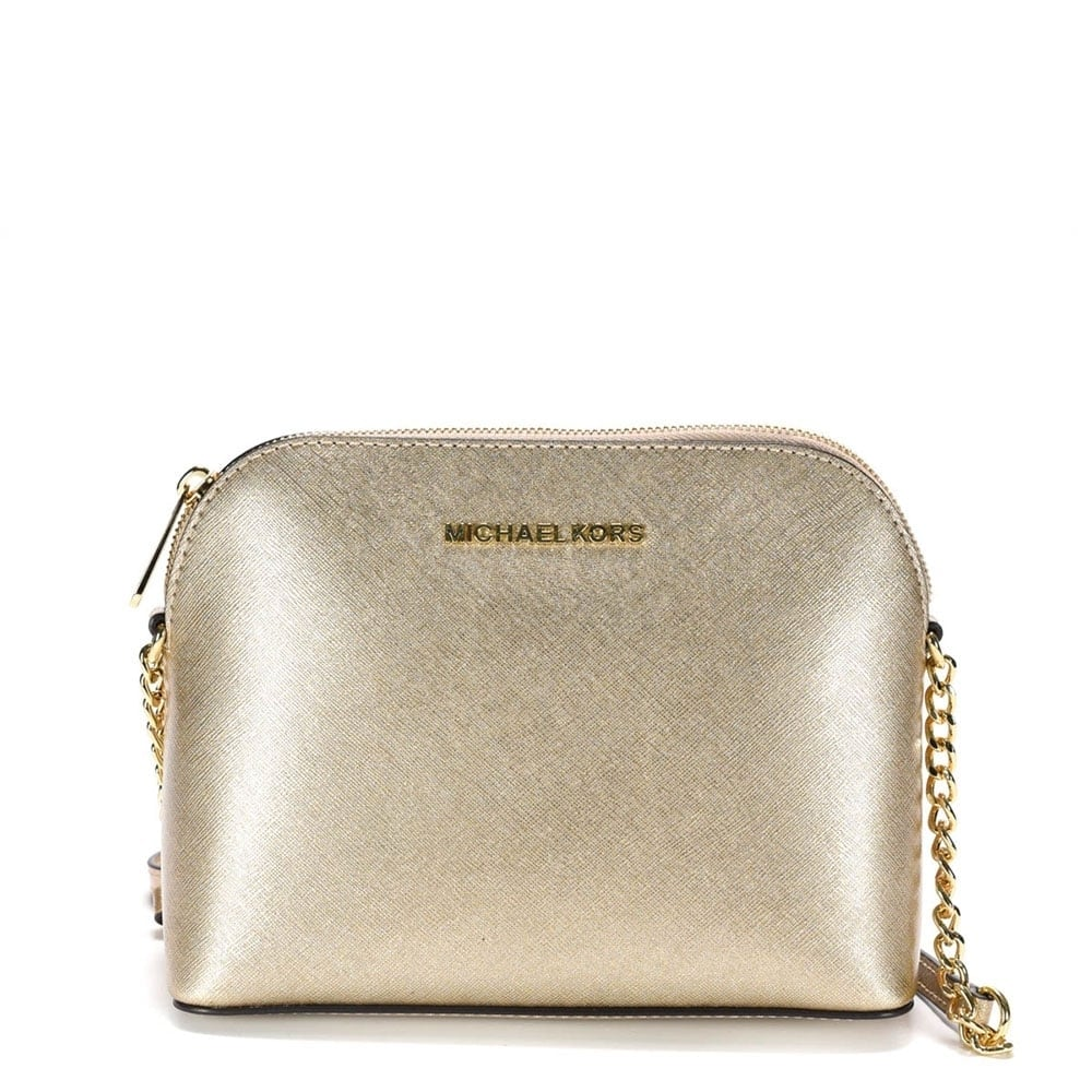 Cindy Pale Gold Large Dome Crossbody Bag