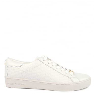 Colby White Leather Embossed Trainer