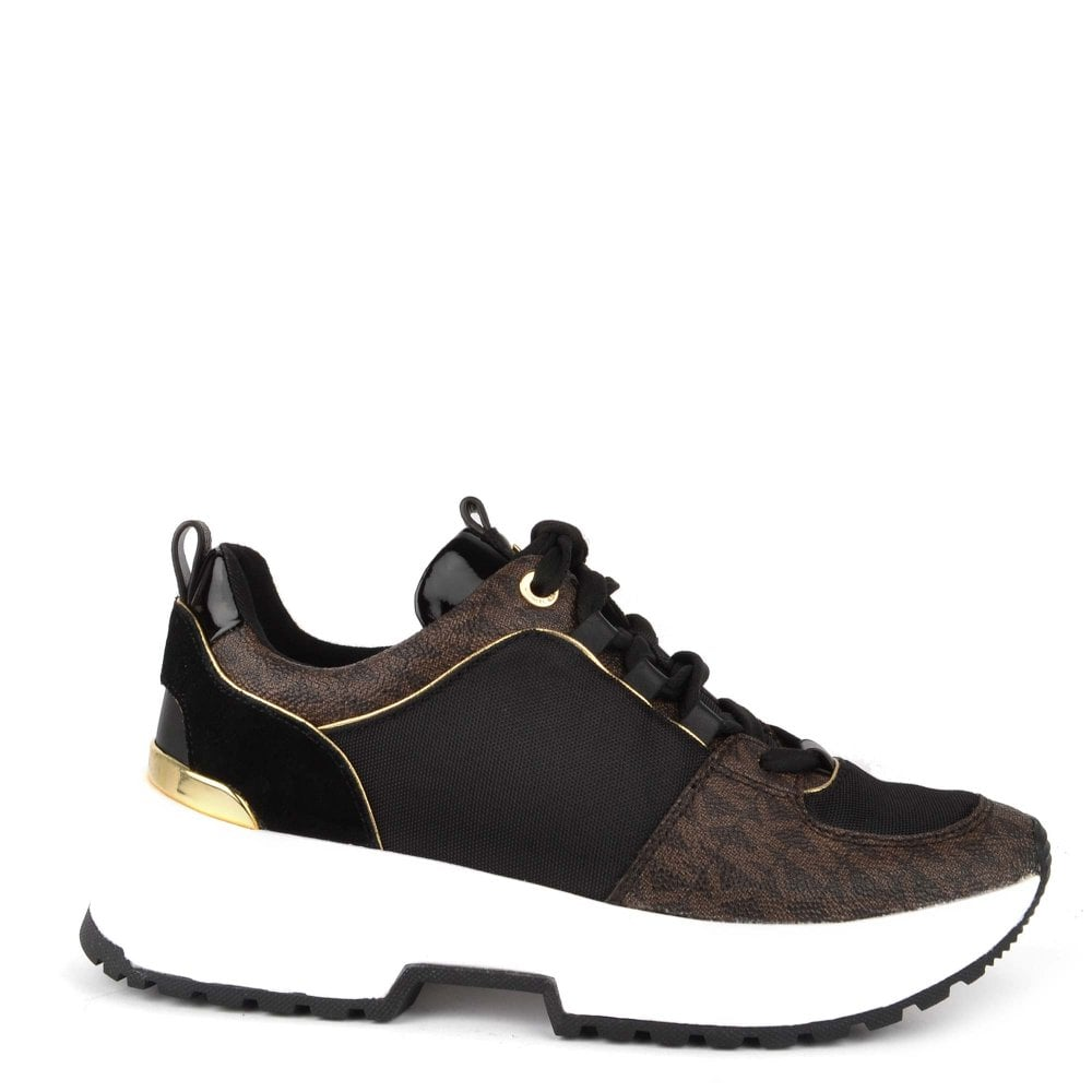 b70c9dc5032d MICHAEL by Michael Kors Cosmo Brown and Black Logo Trainer