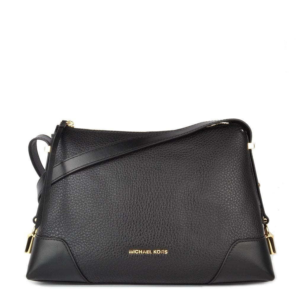 df6d939c06ada3 MICHAEL by Michael Kors Crosby Black Leather Messenger Bag