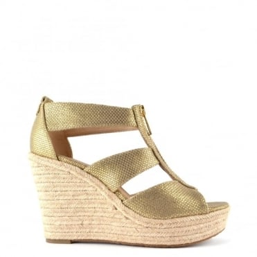 Damita Gold Canvas Wedge Sandal