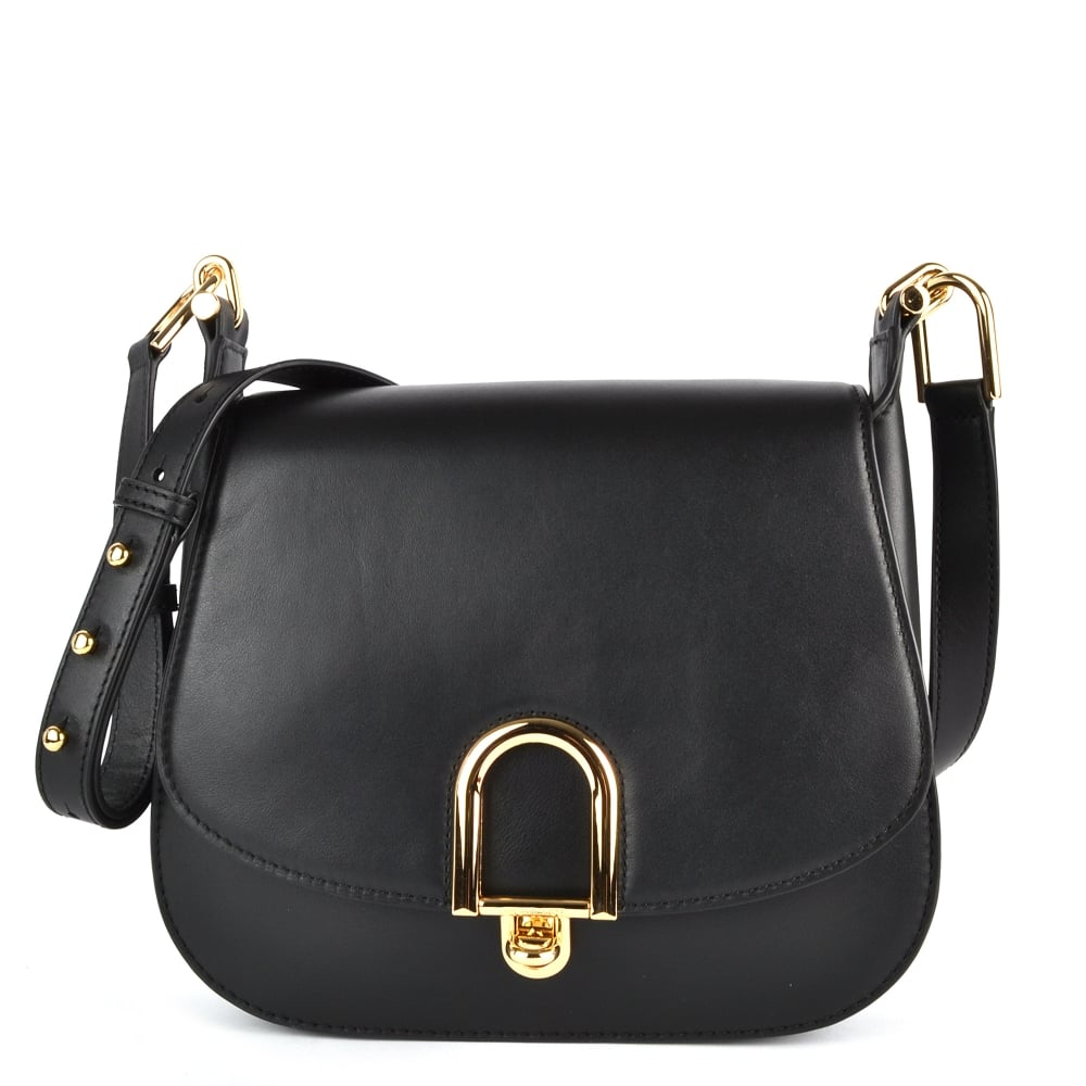 eb4e6e5681601 MICHAEL by Michael Kors Delfina Black Leather Saddle Bag