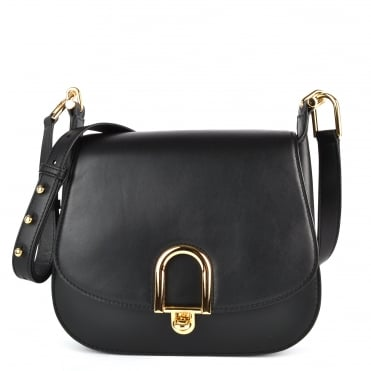 Delfina Black Leather Saddle Bag