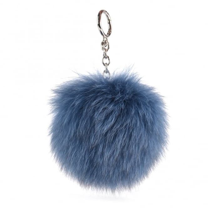 MICHAEL by Michael Kors Denim 'Blue' Fur Pom Pom Keyring Charm