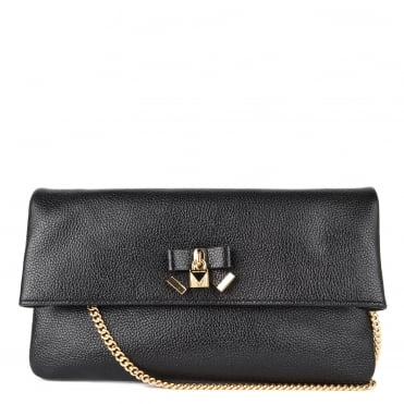 Everly Black Leather Fold Over Clutch