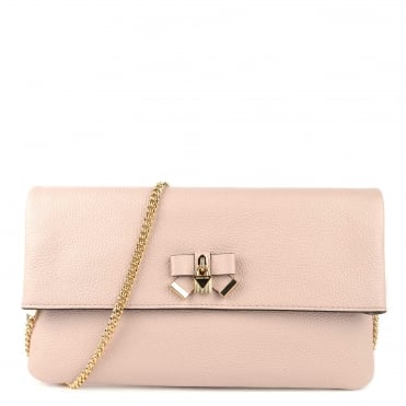 Everly Soft Pink Leather Fold Over Clutch