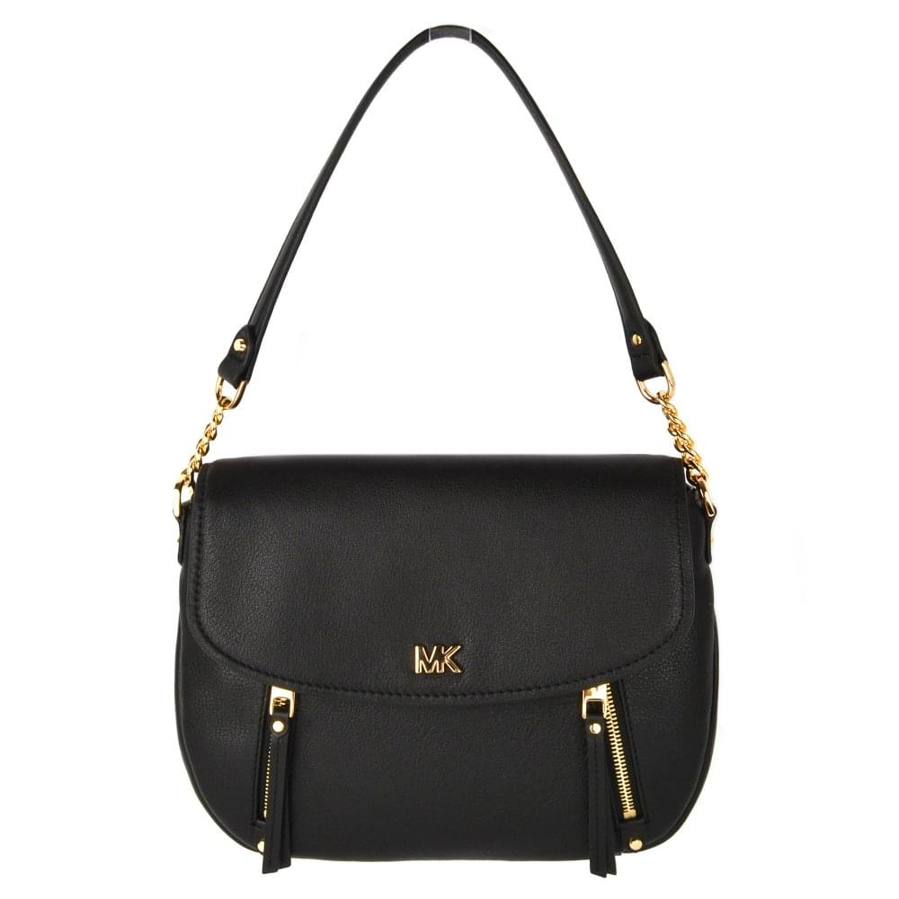 68f50391ed00 MICHAEL by Michael Kors Evie Black Leather Medium Shoulder Flap Bag