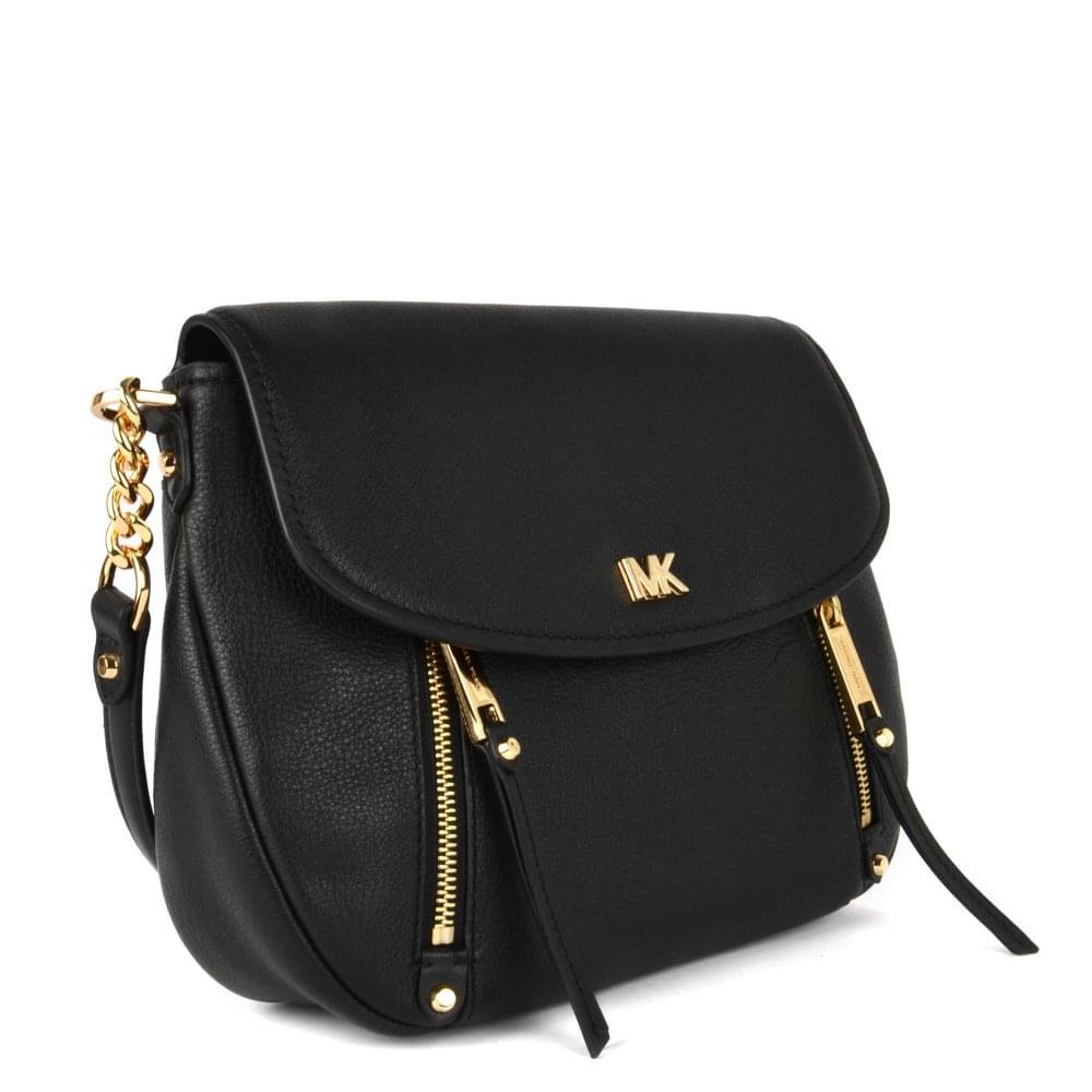 7e8aa46c9af05a MICHAEL MICHAEL KORS Evie Black Leather Medium Shoulder Flap Bag