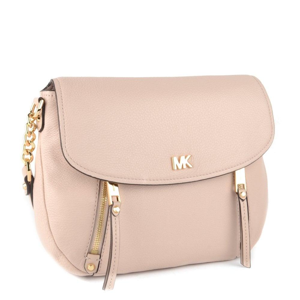 2a1fa70aea82 MICHAEL MICHAEL KORS Evie Soft Pink Leather Medium Shoulder Flap Bag