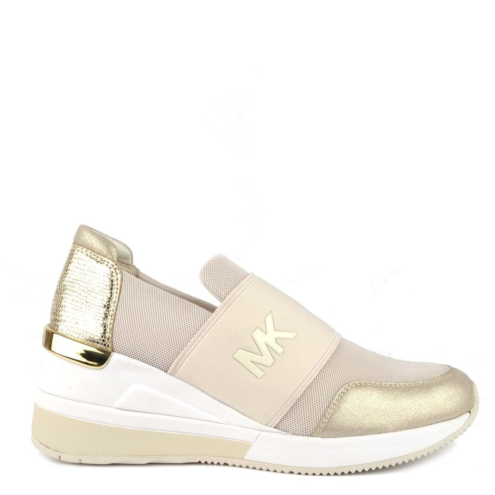 9ebff081a MICHAEL by Michael Kors Felix Cream and Pale Gold Trainer