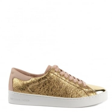 Frankie Pale Gold Textured Leather Trainer