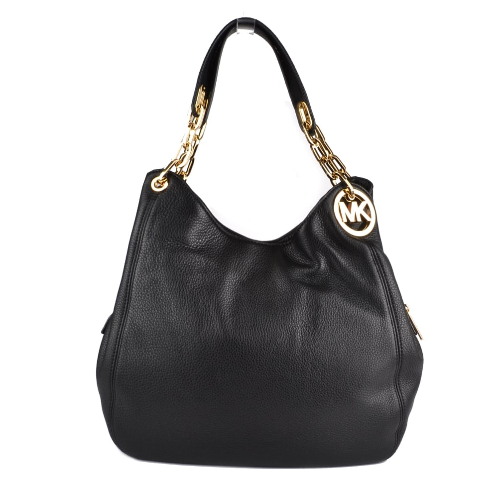 b9c43461cc26 MICHAEL by Michael Kors Fulton Hobo Black Leather Shoulder Bag